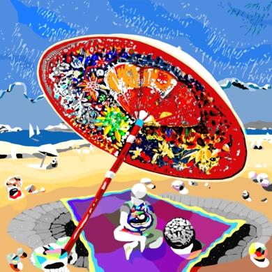 Bajo su sombrilla, sobre una alfombra mágica voladora|Obra gráficadeALEJOS| Compra arte en Flecha.es
