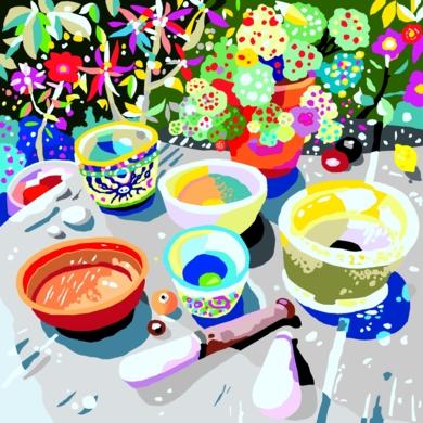La mesa de cultivo de semillas de luz|Obra gráficadeALEJOS| Compra arte en Flecha.es