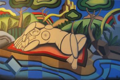 femme au bord de la mer|PinturadePere Lluis León| Compra arte en Flecha.es