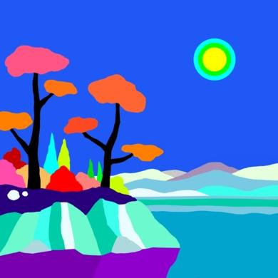 El lago|DibujodeALEJOS| Compra arte en Flecha.es