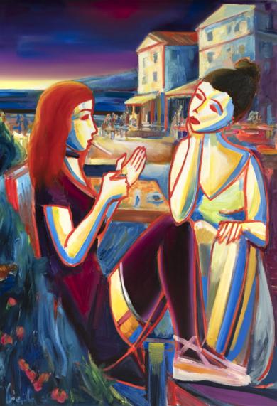puesta de sol sobre la costa, las chicas están fumando un cigarrillo|PinturadeMaciej Cieśla| Compra arte en Flecha.es
