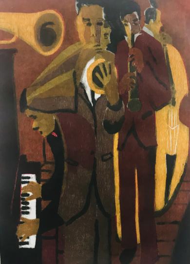 Jazz quinteto.|Obra gráficadeJenifer Carey| Compra arte en Flecha.es