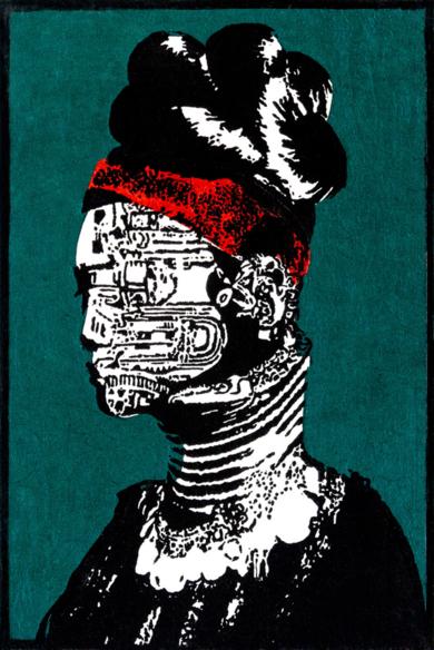 Tribu Kayan|CollagedeAlicia Calbet| Compra arte en Flecha.es