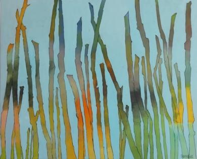 Estacas de madera en la praya|PinturadeFrancisco Santos| Compra arte en Flecha.es