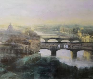 Florencia en verdes|PinturadeISABEL  AVILA| Compra arte en Flecha.es