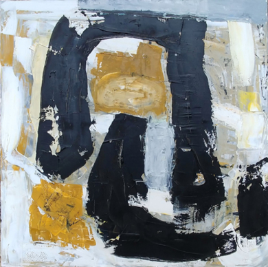 Grande Composition Ocre et Noire PinturadeAurelie Jeannin  Compra arte en Flecha.es