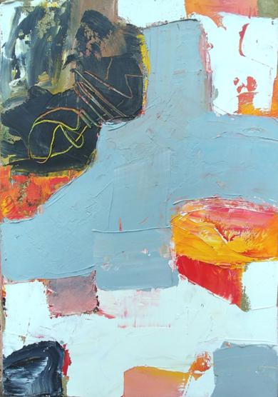 Petite Composition en Gris Bleu PinturadeAurelie Jeannin  Compra arte en Flecha.es