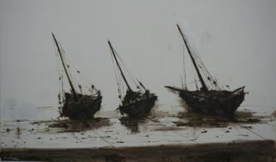 Barcas en las playas de Bagamoyo  N 1|PinturadeCalo Carratalá| Compra arte en Flecha.es