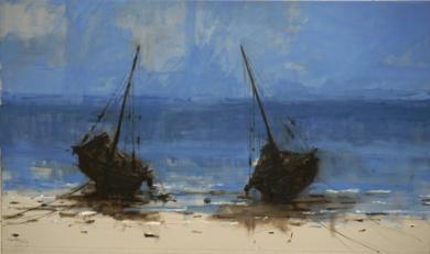 Barcas en las playas de Bagamoyo  N2|PinturadeCalo Carratalá| Compra arte en Flecha.es