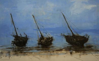 Barcas en las playas de Bagamoyo  N3|PinturadeCalo Carratalá| Compra arte en Flecha.es