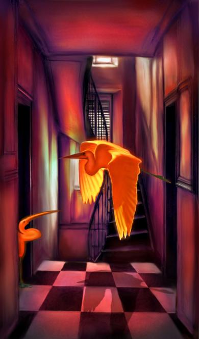 ROOM 4 (Two Herons in a Hallway)|DigitaldeHelena Revuelta| Compra arte en Flecha.es