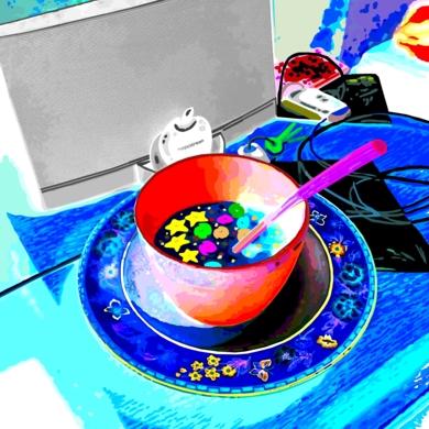 Bodegón con estrellas, galaxias, Magicstream y llaves|DibujodeALEJOS| Compra arte en Flecha.es