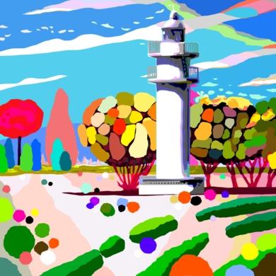 El Faro de Ajo blanco del Parque del Buen Retiro|Obra gráficadeALEJOS| Compra arte en Flecha.es