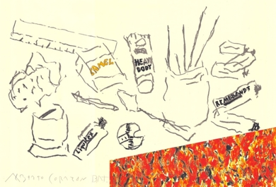 Mesa de artista con paquete CAMEL|DibujodeAlberto Corazón| Compra arte en Flecha.es