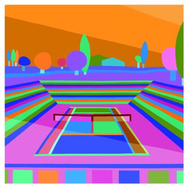 Hockney on center court night|DibujodeARTMVG| Compra arte en Flecha.es