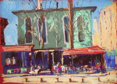 Istanbul. Cafeteria. OIL PASTEL PAINTING. SMALL COLORFUL TURKEY TURQUOISE INTERIOR DECOR STREET URBAN MODERN IMPRESSIONISM|DibujodeSasha Romm Art| Compra arte en Flecha.es
