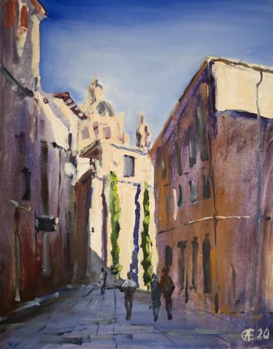 Salamanca. Vista de Clerecía. ORIGINAL OIL. MEDIUM SIZE ORIGINAL STREET LANDSCAPE SPAIN CATILLA Y LEON ARCHITECTURE SUNLITE DRAMATIC OLD TOWN TRAVEL MODERN IMPRESSIONISM|PinturadeSasha Romm Art| Compra arte en Flecha.es