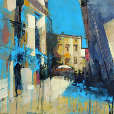 Calle de Segovia Azul|PinturadeJENNY FERMOR| Compra arte en Flecha.es