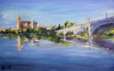 Salmanca. La vista del rio Tormes. ORIGINAL OIL PAINTING. SPAIN MEDIUM SIZE PAINTING ON OF A KIND BLUE RIVER REFLECTION BRIDGE LANDSCAPE IMPRESSIONISM MODERN|PinturadeSasha Romm Art| Compra arte en Flecha.es