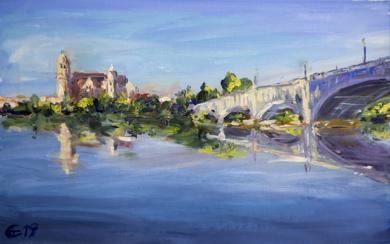Salmanca. La vista del rio Tormes.|PinturadeSasha Romm Art| Compra arte en Flecha.es