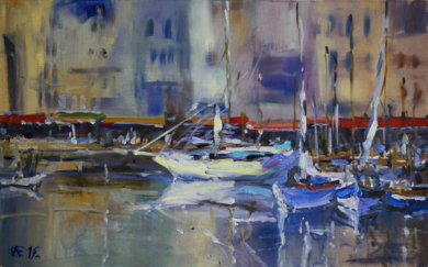 Honfleur puerto. Francia, Normandia. ORIGINAL OIL PAINTING BOATS NORMANDY SEASCAPE LANDSCAPE INTERIOR MUTED COLORFUL|PinturadeSasha Romm Art| Compra arte en Flecha.es