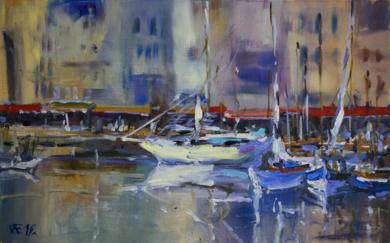 Honfleur puerto. Francia, Normandia|PinturadeSasha Romm Art| Compra arte en Flecha.es