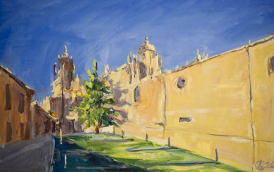 Catedral vieja de Salamanca.  VIEW OF THE CATHEDRAL ORIGINAL OIL. SMALL ORIGINAL SUNNY ARCHITECTURE SPAIN YELLOW URBAN OLD TOWN|PinturadeSasha Romm Art| Compra arte en Flecha.es