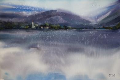 Alpes. Lago de las montañas|DibujodeSasha Romm Art| Compra arte en Flecha.es