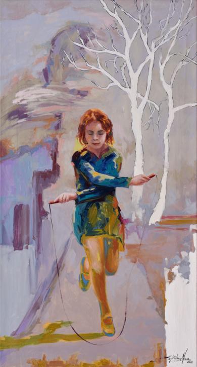 Jugando a la comba|PinturadeCelestino Mesa| Compra arte en Flecha.es