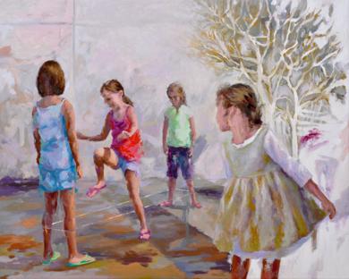 Jugando a la goma|PinturadeCelestino Mesa| Compra arte en Flecha.es