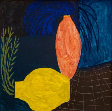 Jaune sur noir et bleu|PinturadeAna Cano Brookbank| Compra arte en Flecha.es