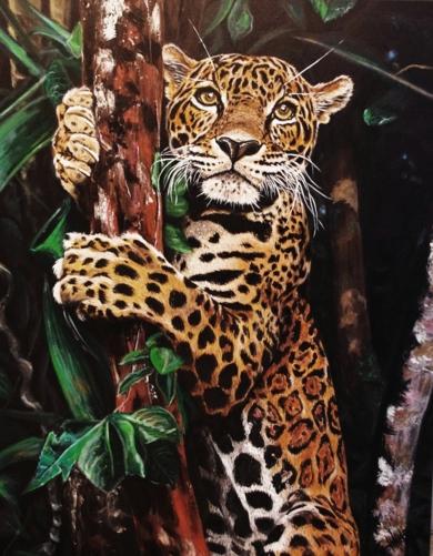 Leopardo en arbol|PinturadeJorge perez| Compra arte en Flecha.es