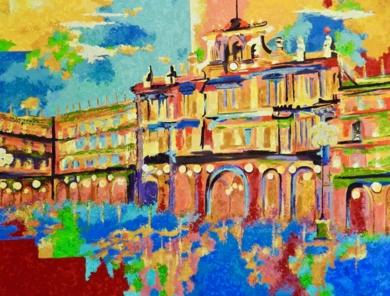 Lluvia en la Plaza|PinturadeMaite Rodriguez| Compra arte en Flecha.es
