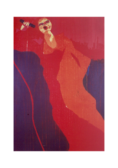 La cantante rojo.|Obra gráficadeJenifer Carey| Compra arte en Flecha.es
