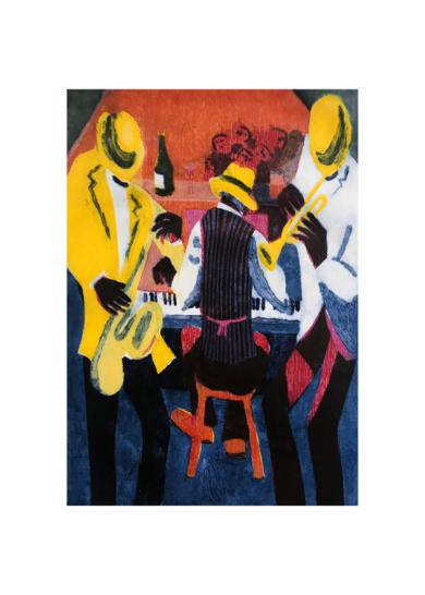 Jazz con sombreros.|Obra gráficadeJenifer Carey| Compra arte en Flecha.es