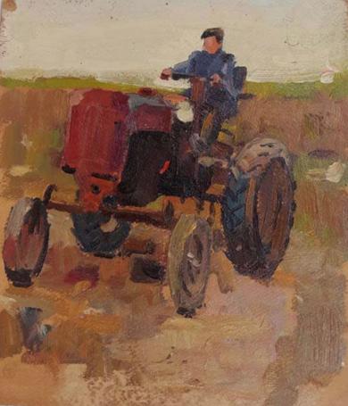 On the tractor|PinturadeLes Vladimir Stepanovich| Compra arte en Flecha.es