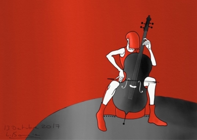 Mujer música con chelo|DigitaldeLola Barcia Albacar| Compra arte en Flecha.es
