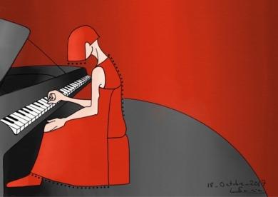 Mujer música al piano|DigitaldeLola Barcia Albacar| Compra arte en Flecha.es