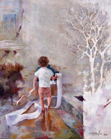 El niño del apuro|PinturadeCelestino Mesa| Compra arte en Flecha.es