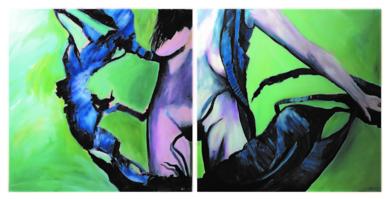 Randeeira ( Serie 14-15 ) Díptico 2  obras de 100x100 cm|PinturadeDelio Sánchez| Compra arte en Flecha.es