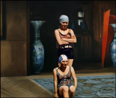 Interior con bañistas|PinturadeEnrique González| Compra arte en Flecha.es