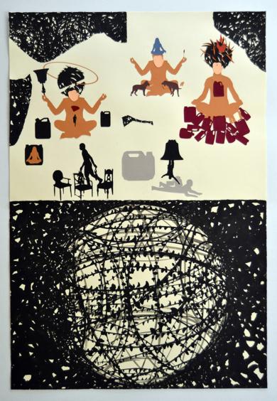 Monje  bonzo I|CollagedeJavier Pulido| Compra arte en Flecha.es