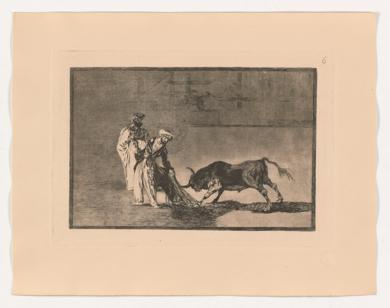 La Tauromaquia. Los moros hacen otro capeo en plaza con su albornoz (Estampa 6)|Obra gráficadeFrancisco de Goya y Lucientes| Compra arte en Flecha.es