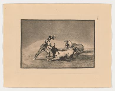 La Tauromaquia. Un caballero español mata un toro después de haber perdido el caballo (Estampa 9)|Obra gráficadeFrancisco de Goya y Lucientes| Compra arte en Flecha.es