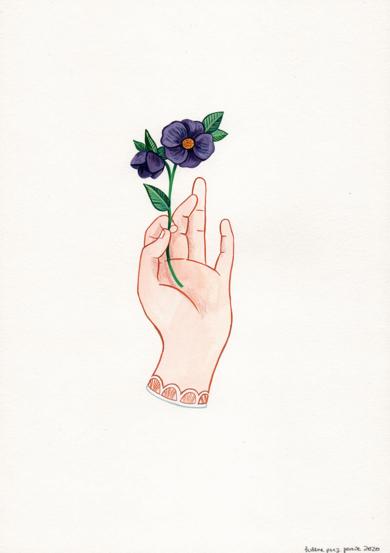 Mano con flor I|DibujodeHelena Perez Garcia| Compra arte en Flecha.es