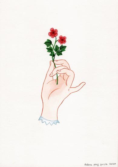 Mano con flor II|DibujodeHelena Perez Garcia| Compra arte en Flecha.es