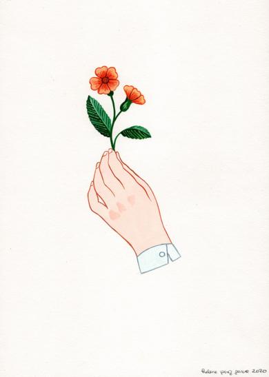 Mano con flor III|DibujodeHelena Perez Garcia| Compra arte en Flecha.es