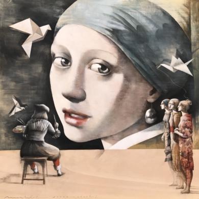 Joven y Pájaros|CollagedeMenchu Uroz| Compra arte en Flecha.es