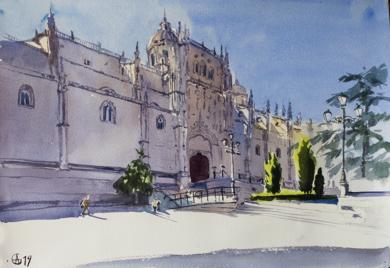 NEW CATHEDRAL. SALAMANCA, SPAIN. ORIGINAL WATERCOLOR. SMALL URBAN LANDSCAPE CITY TRAVEL INTERIOR IMPRESSIONISTIC MOOD SHADOW PURPLE INSPIRATION|PinturadeSasha Romm Art| Compra arte en Flecha.es