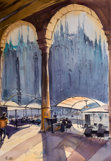 MILANO DUOMO. URBAN LANDSCAPE WITH LIGHT, SHADOW AND EMPTY TERRACE. BIG FORMAT WATERCOLOR URBAN LANDSCAPE MEDITERRANEAN ITALY SEA BRIGHT ARCHITECTURE OLD TRAVEL MILAN CATHEDRAL COFFEE MODERN IMPRESSIONISM|DibujodeSasha Romm Art| Compra arte en Flecha.es